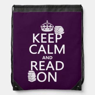 Behalten Sie Ruhe und lesen Sie auf (in Sportbeutel