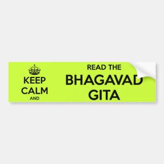 Behalten Sie Ruhe und lesen Sie das Bhagavad Gita Autoaufkleber