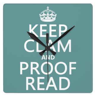 Behalten Sie Ruhe und lesen Sie Korrektur Quadratische Wanduhr