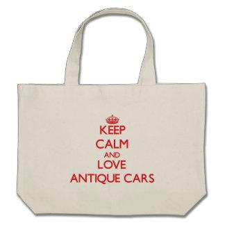 Behalten Sie Ruhe und Liebe antike Autos Leinentaschen