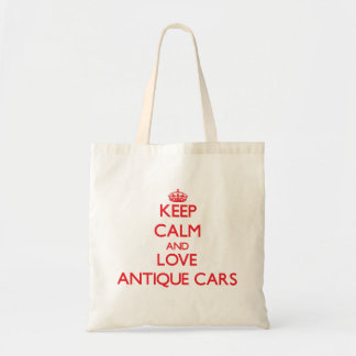 Behalten Sie Ruhe und Liebe antike Autos Budget Stoffbeutel