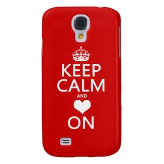 Behalten Sie Ruhe und Liebe auf (Herz) Galaxy S4 Hülle