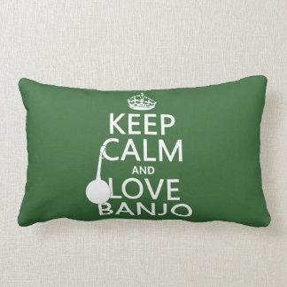 Behalten Sie Ruhe-und Liebe-Banjo (irgendeine Lendenkissen