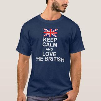 BEHALTEN SIE RUHE UND LIEBE DIE BRITISCHE FLAGGE T-Shirt