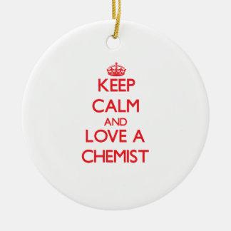 Behalten Sie Ruhe und Liebe ein Chemiker Ornamente