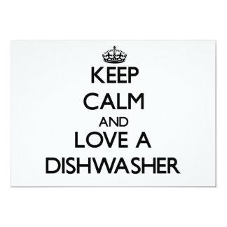Behalten Sie Ruhe und Liebe eine Spülmaschine Individuelle Einladungen