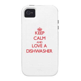 Behalten Sie Ruhe und Liebe eine Spülmaschine iPhone 4/4S Cover
