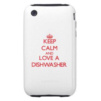 Behalten Sie Ruhe und Liebe eine Spülmaschine Tough iPhone 3 Hüllen