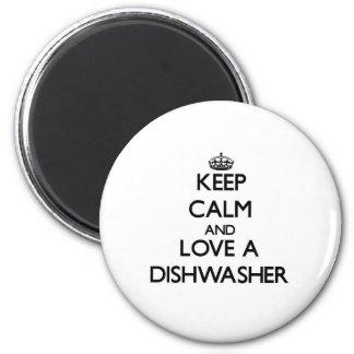 Behalten Sie Ruhe und Liebe eine Spülmaschine Runder Magnet 5,7 Cm
