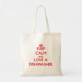 Behalten Sie Ruhe und Liebe eine Spülmaschine Leinentasche