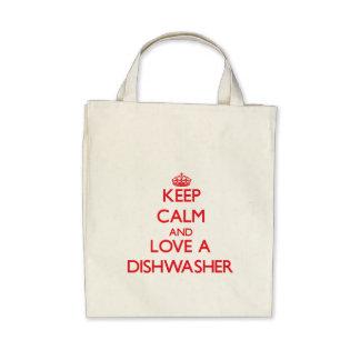 Behalten Sie Ruhe und Liebe eine Spülmaschine Einkaufstasche