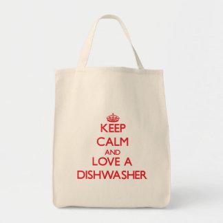 Behalten Sie Ruhe und Liebe eine Spülmaschine Tasche