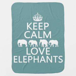 Behalten Sie Ruhe-und Liebe-Elefanten Babydecke
