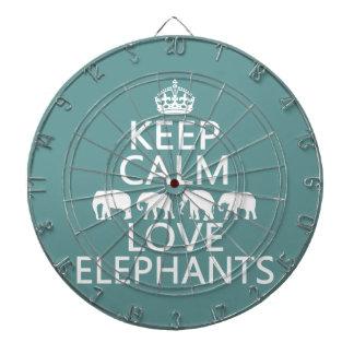 Behalten Sie Ruhe-und Liebe-Elefanten Dartscheibe