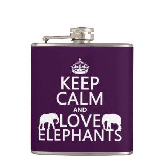 Behalten Sie Ruhe-und Liebe-Elefanten (irgendeine Flachmann