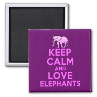 Behalten Sie Ruhe-und Liebe-Elefanten Quadratischer Magnet