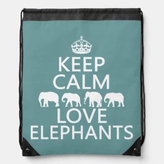 Behalten Sie Ruhe-und Liebe-Elefanten Turnbeutel