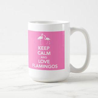 Behalten Sie Ruhe-und Liebe-Flamingo-Tasse