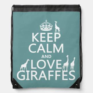 Behalten Sie Ruhe-und Liebe-Giraffen (irgendeine Turnbeutel