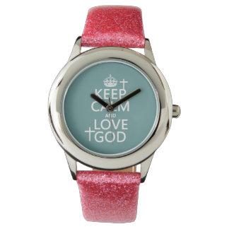 Behalten Sie Ruhe-und Liebe-Gott - alle Farben Uhr