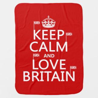 Behalten Sie Ruhe und Liebe Großbritannien Kinderwagendecke