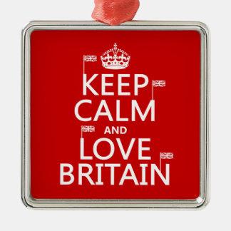 Behalten Sie Ruhe und Liebe Großbritannien Silbernes Ornament