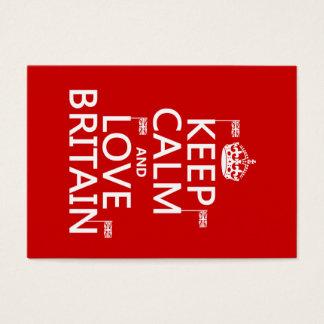 Behalten Sie Ruhe und Liebe Großbritannien Visitenkarte