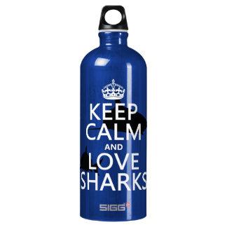 Behalten Sie Ruhe-und Liebe-Haifische Aluminiumwasserflasche