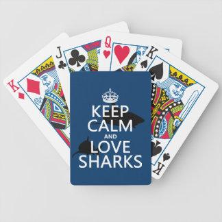 Behalten Sie Ruhe-und Liebe-Haifische Bicycle Spielkarten