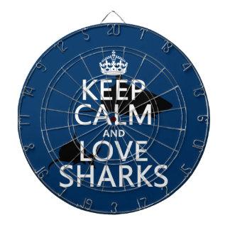 Behalten Sie Ruhe-und Liebe-Haifische Dartscheibe