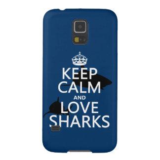 Behalten Sie Ruhe-und Liebe-Haifische Galaxy S5 Hülle