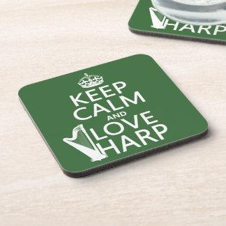 Behalten Sie Ruhe-und Liebe-Harfe (irgendeine Getränkeuntersetzer