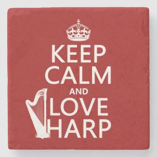 Behalten Sie Ruhe-und Liebe-Harfe (irgendeine Steinuntersetzer