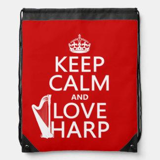 Behalten Sie Ruhe-und Liebe-Harfe (irgendeine Turnbeutel