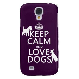 Behalten Sie Ruhe-und Liebe-Hunde - alle Farben Galaxy S4 Hülle