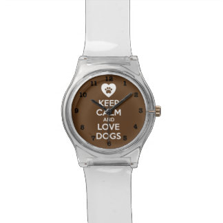 Behalten Sie Ruhe-und Liebe-Hunde Uhr