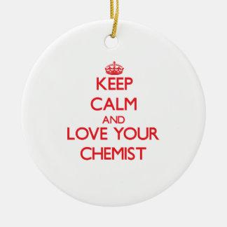 Behalten Sie Ruhe und Liebe Ihr Chemiker Weihnachtsbaum Ornamente