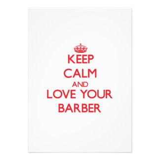 Behalten Sie Ruhe und Liebe Ihr Friseur Ankündigungskarte