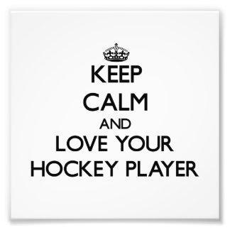 Behalten Sie Ruhe und Liebe Ihr Hockey-Spieler Photo