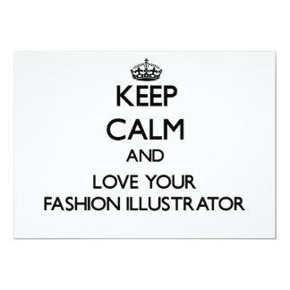 Behalten Sie Ruhe und Liebe Ihr Mode-Illustrator Personalisierte Einladungen