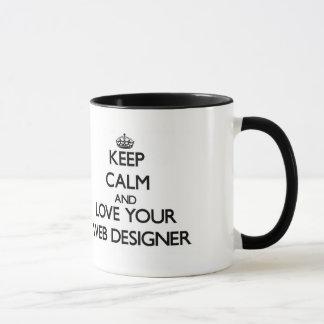 Behalten Sie Ruhe und Liebe Ihr Netz-Designer Tasse