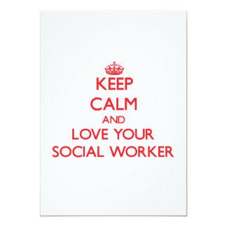 Behalten Sie Ruhe und Liebe Ihr Sozialarbeiter 12,7 X 17,8 Cm Einladungskarte