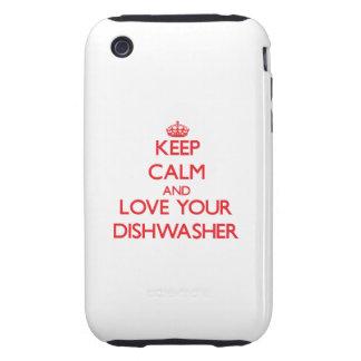 Behalten Sie Ruhe und Liebe Ihre Spülmaschine Tough iPhone 3 Hüllen