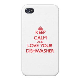 Behalten Sie Ruhe und Liebe Ihre Spülmaschine iPhone 4 Hüllen