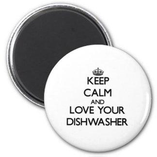 Behalten Sie Ruhe und Liebe Ihre Spülmaschine Runder Magnet 5,7 Cm