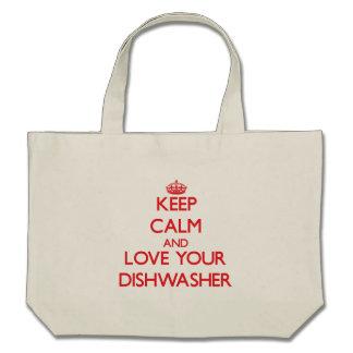 Behalten Sie Ruhe und Liebe Ihre Spülmaschine Einkaufstasche