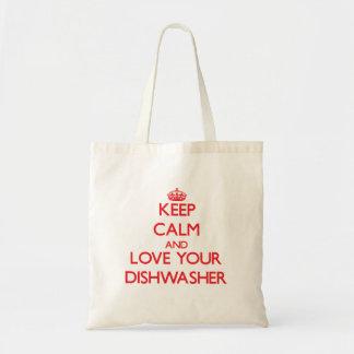 Behalten Sie Ruhe und Liebe Ihre Spülmaschine Budget Stoffbeutel