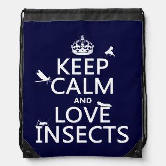 Behalten Sie Ruhe-und Liebe-Insekten (irgendeine Sportbeutel