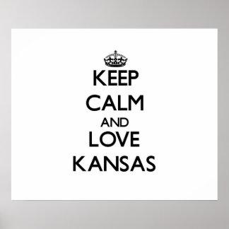 Behalten Sie Ruhe und Liebe Kansas Poster