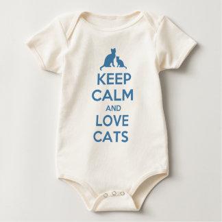 Behalten Sie Ruhe-und Liebe-Katzen Baby Strampler